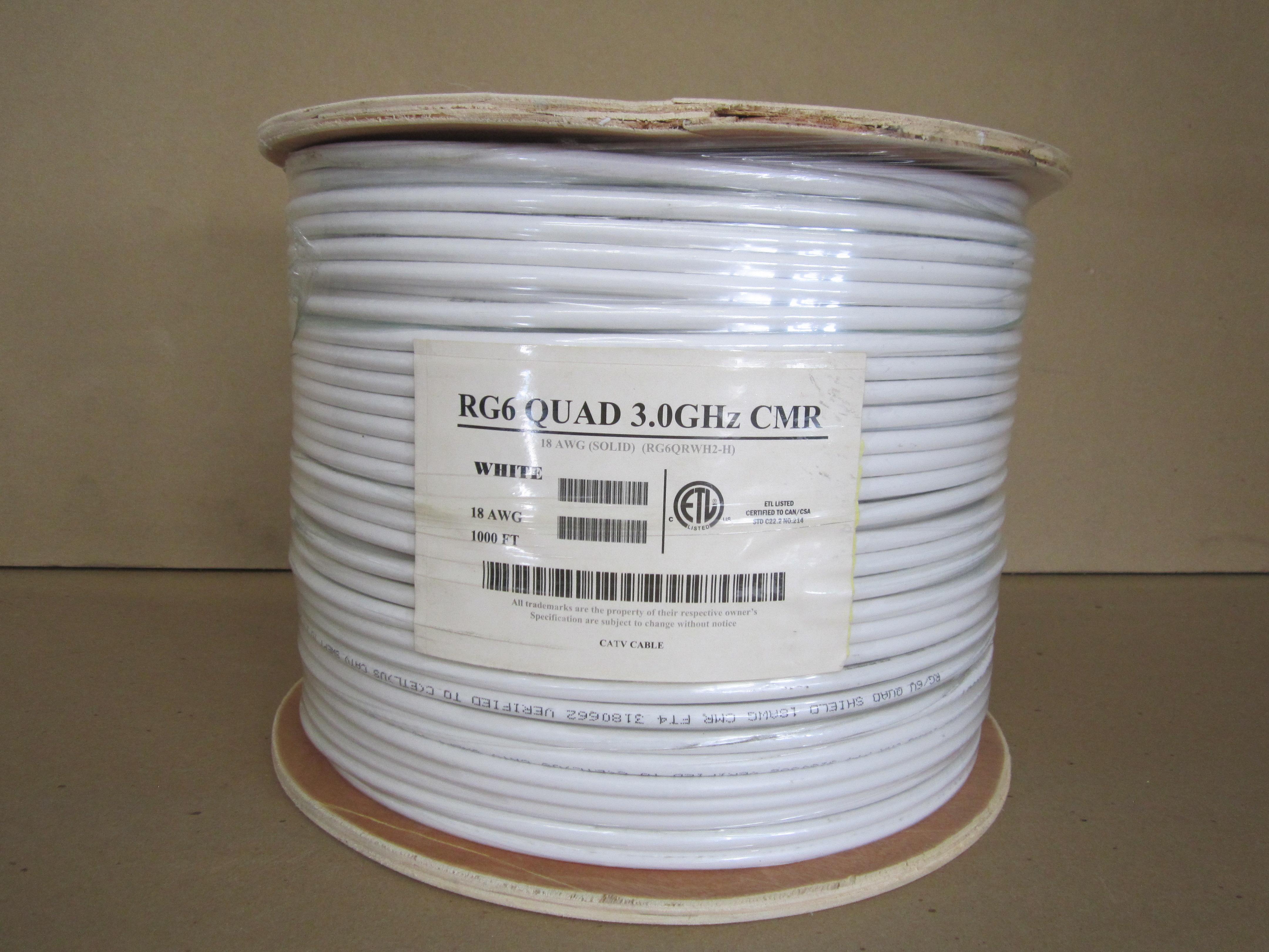 1000\' WHITE RG6 QUAD SHIELD CMR - 18AWG COAX CABLE