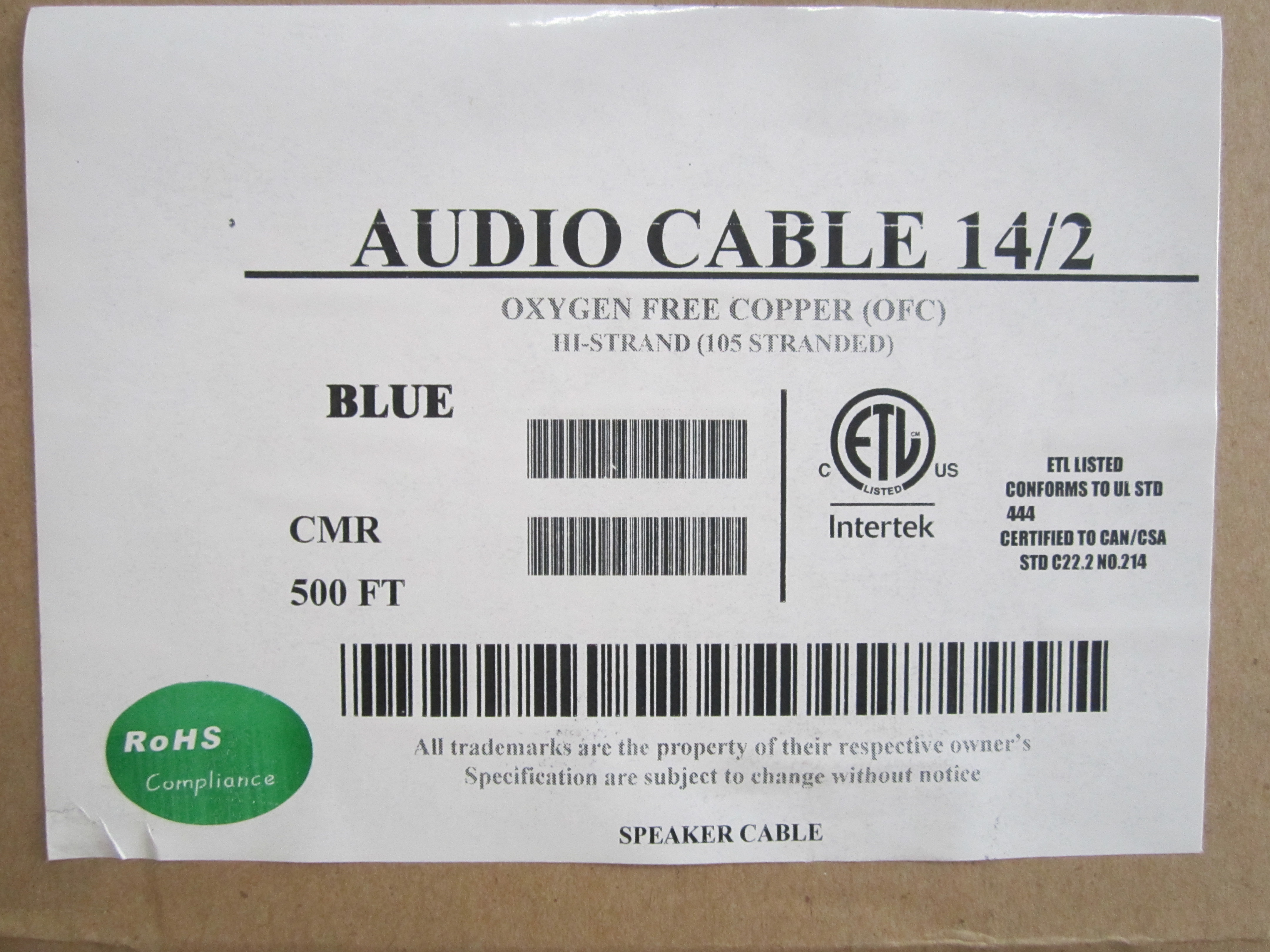 500\' BOX-BLUE-14 AWG 2C 105 STRANDED OFC CMR CL3R AUDIO CABLE