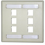 6 PORT DOUBLE GANG FACE PLATE W/ LABELING WINDOWS
