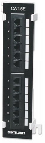 12 PORT VERTICAL WALL MOUNT CAT 5E PATCH PANEL